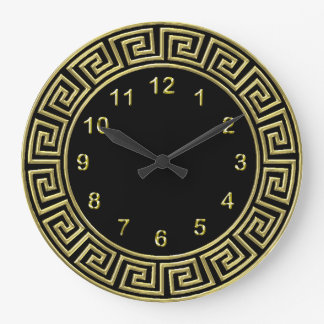 Art Deco Gold Black Greek Key Border Gold Markers Large Clock