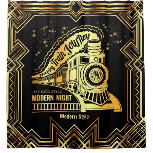 art deco,gold,black,vintage,retro,elegant,chic,tre shower curtain ...
