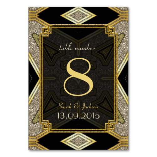 Art Deco Gold Black Wedding Table Number Card Table Card