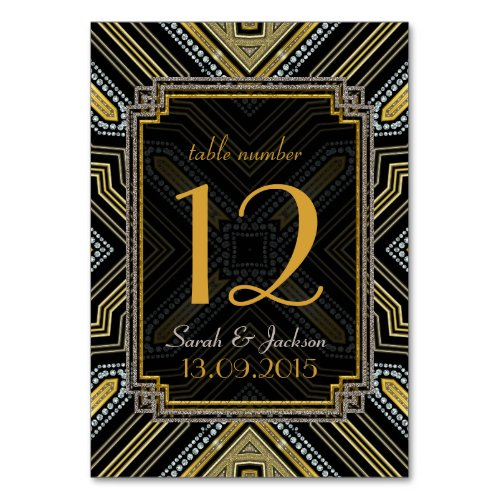 Art Deco Gold Black Wedding Table Number Card Table Cards