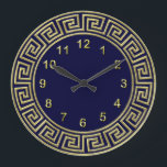"""Art Deco Gold Blue Greek Key Border Gold Markers Large Clock<br><div class=""""desc"""">Art-Deco Gold Blue Greek Key Border,  Gold Markers Wall Clock    A classic art deco gold border on a deep blue background.  The numeral markers are also in gold.</div>"""