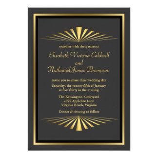 Art Deco Gold Fanfare Wedding Invitation | black