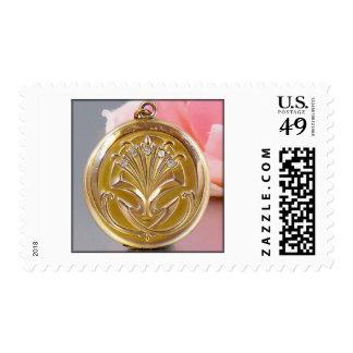 Art-Deco Gold Floral Locket Postage Stamp