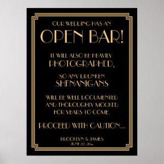 Art Deco Gold Gatsby Black Open Bar Sign 18x24