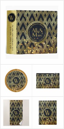 Art Deco Gold Glitter Monogram