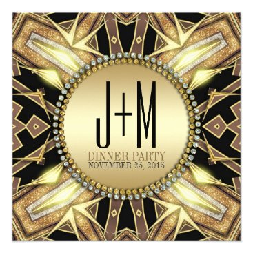 Aztec Themed Art Deco Gold Glow Dinner Party Invitation