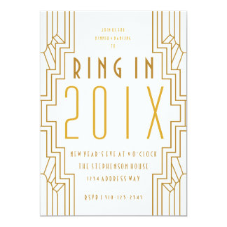 Art Deco Gold New Year's Eve Party Invitation