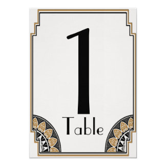 Art Deco Gold Posh Table Number 5x7 Paper Invitation Card