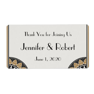 Art Deco Gold Posh Water Bottle Label Personalized Shipping Label