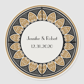 Art Deco Gold Posh Wedding Classic Round Sticker