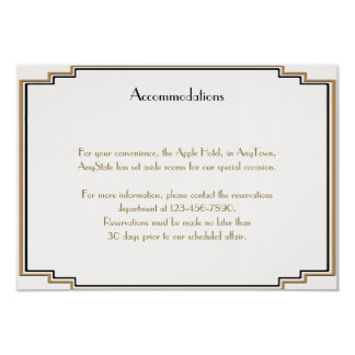 Art Deco Gold Posh Wedding Insert Card