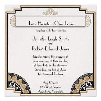 Art Deco Gold Posh Wedding Invitation