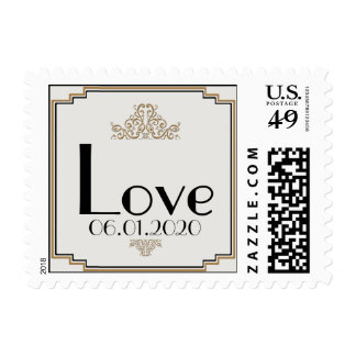 Art Deco Gold Posh Wedding Love Stamp Stamps