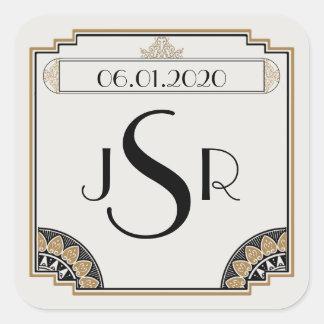 Art Deco Gold Posh Wedding Monogram Sticker Sticker
