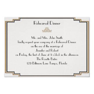 Art Deco Gold Posh Wedding Rehearsal Card