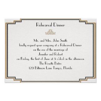 Art Deco Gold Posh Wedding Rehearsal Personalized Invitation