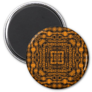 Art Deco Gold Retro Squares Abstract Art 2 Inch Round Magnet