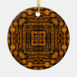 Art Deco Gold Retro Squares Abstract Art Christmas Tree Ornament