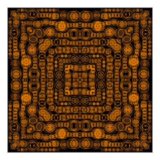 Art Deco Gold Retro Squares Abstract Art Poster