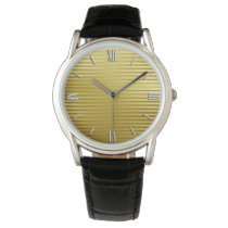 Art Deco Gold Satin Stripes Wristwatch