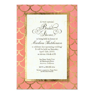 Art Deco Gold Scalloped Shell Bridal Shower Party Card