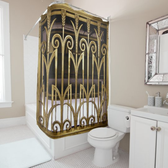 Art Deco Gold Shower Curtain