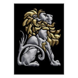 Art Deco Gold & Silver Lion Poster