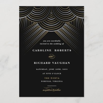 Art Deco Gold String Lights Wedding Invitation