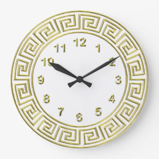 Art Deco Gold White Greek Key Border Gold Markers Large Clock