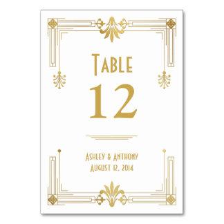 Art Deco Gold White Roaring 20s Wedding Table Card