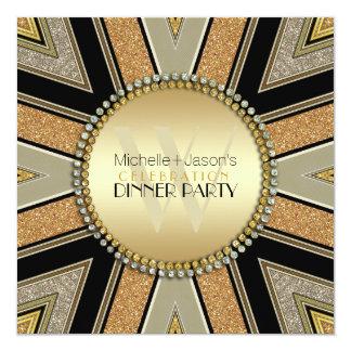 """Art Deco Golden Glitter Dinner Party Invitation 5.25"""" Square Invitation Card"""