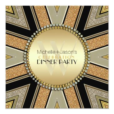 Aztec Themed Art Deco Golden Glitter Dinner Party Invitation
