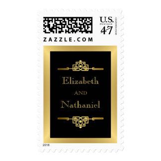 Art Deco Golden Romance Stamp