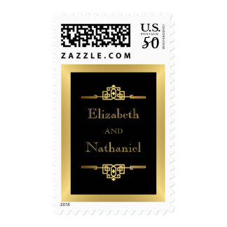 Art Deco Golden Romance Stamp