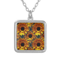 ART DECO  GOLDEN SUNFLOWERS DESIGN SILVER PLATED NECKLACE