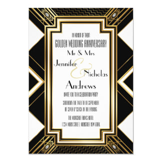 Art Deco Golden Wedding Anniversary Invitation