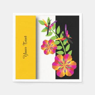 Art Deco GoldenYellow Floral Paper Napkin