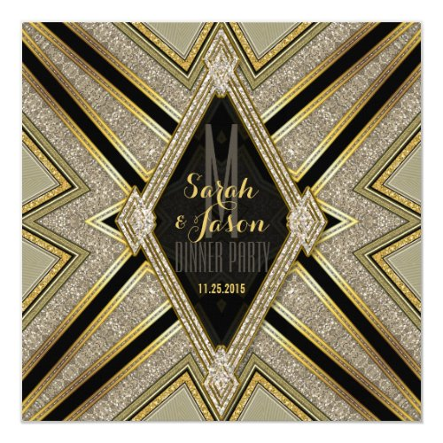 Art Deco Goldy Diamonds Dinner Party Invitations