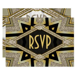 Art Deco Goldy Diamonds Wedding RSVP Cards