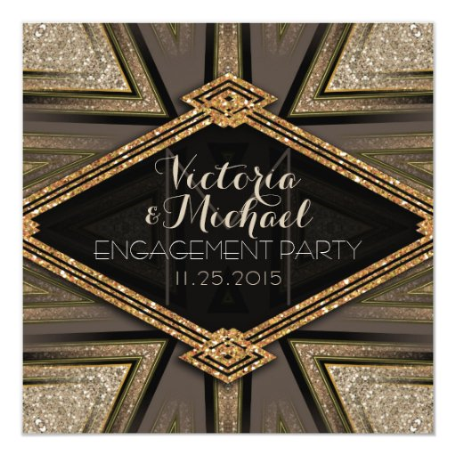 Art Deco Goldy Engagement Party Invitations