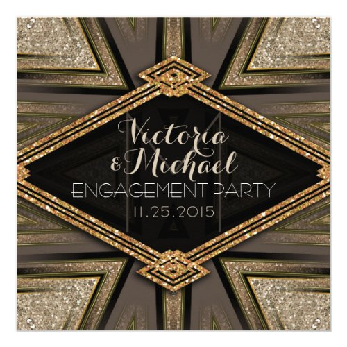 Art Deco Goldy Engagement Party Invitations Invite