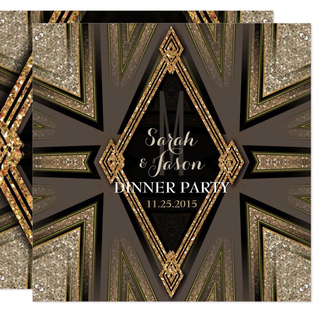 Art Deco Goldy Romance Dinner Party Invitations