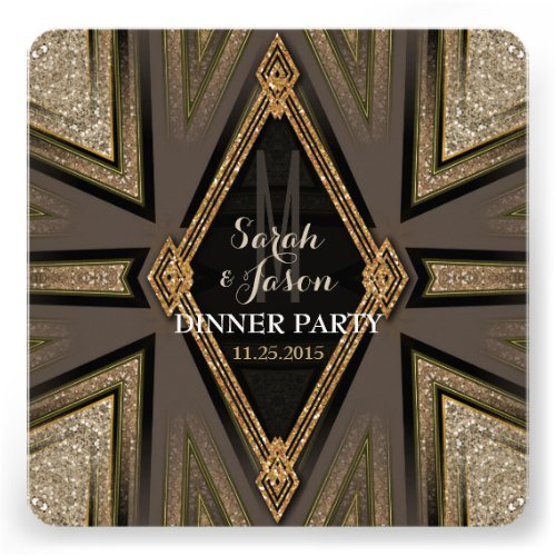 Art Deco Goldy Romance Dinner Party Invitations Announcement