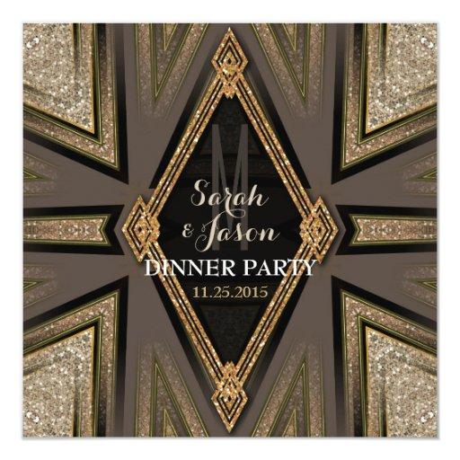 Art Deco Goldy Romance Dinner Party Invitations