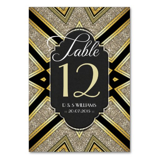 Art Deco Goldy Wedding Table Number Cards