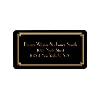 Art Deco Great Gatsby Black Gold Address Labels