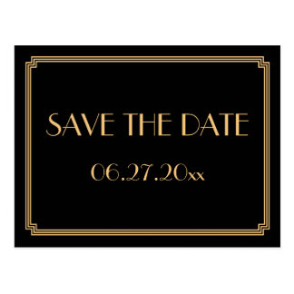 Art Deco Great Gatsby Black Save The Date Postcard
