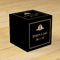Art Deco Great Gatsby Black Wedding Favor Boxes