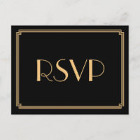 Art Deco Great Gatsby Black Wedding RSVP Postcards