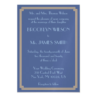 Art Deco Great Gatsby Blue Magnet Wedding Invites